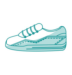Blue silhouette shading sneaker sport shoes vector
