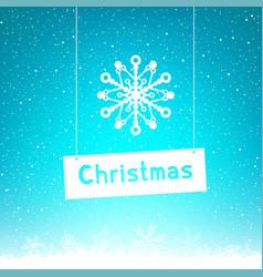 Blue winter christmas text snowflake vector