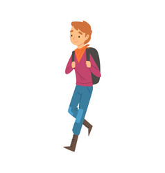 Boy walking with backpack child travelling on vector