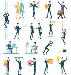 business peoples set icons flat design vector image