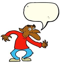 Cartoon goblin with speech bubble vector
