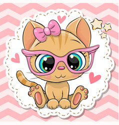 Cartoon orange kitten girl in pink eyeglasses vector