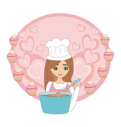 Cartoon smiling woman in kitchen mixes the vector