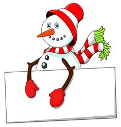Cartoon snowman holding blank sign vector