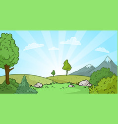 cartoon sunrise nature landscape background vector image