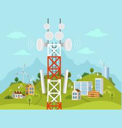 Cellular transmission tower in front of landscape vector
