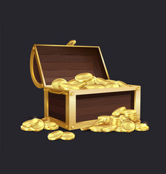 chest gold coin closed and open vector image