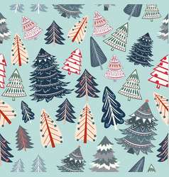 christmas seamless pattern with rustic xmas trees vector image