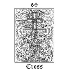 Cross and skull tarot card from lenormand gothic vector