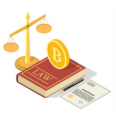 Cryptocurrency legalization concept flat vector