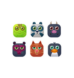 cute animals set square app icons assets for gui vector image