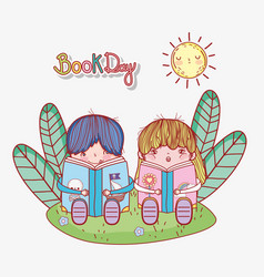 cute little boy and girl sitting reading books in vector image