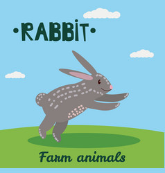 cute rabbit farm animal character farm animals vector image