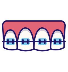 Dental braces linecolor vector