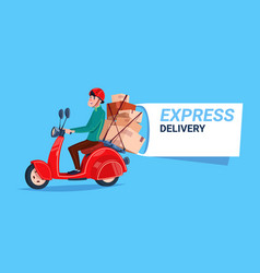 Express delivery service icon courier boy riding vector