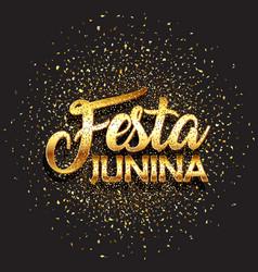 festa junina background with gold glitter confetti vector image