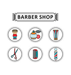 Flat barber shop tools icon vector