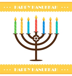 Flat design hanukkah card with menorah vector