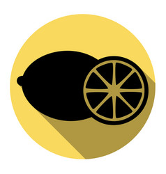 fruits lemon sign flat black icon with vector image