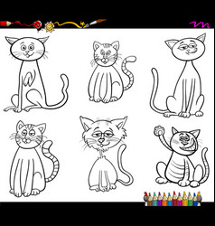 Funny cats characters coloring book vector