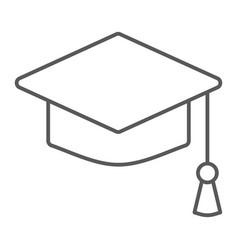 graduation cap thin line icon school education vector image