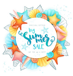 Hand lettering summer sale text surrounded vector