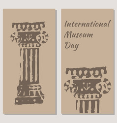 international museum day beige background flyers vector image