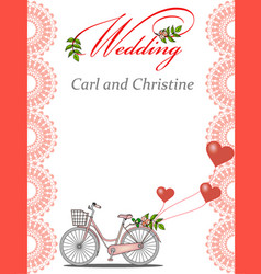 invitation for a wedding with a bicycle vector image