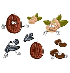 Isolated cartoon nuts seeds and grains vector image