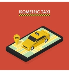 isometric concept mobile app for booking taxi vector image