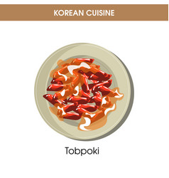 Korean cuisine tobpoki tteok-bokki traditional vector