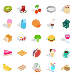 Make a breakfast icons set isometric style vector