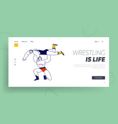 male characters wrestling fight landing page vector image