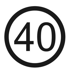 Maximum speed limit 40 line icon vector