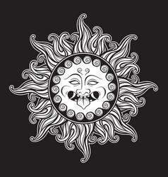 Medusa gorgon head in flame hand drawn line art vector