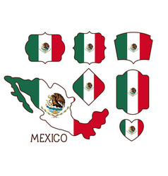 mexico poster with map and insignia templates with vector image