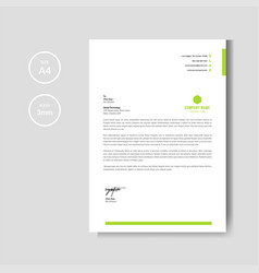 modern and minimalist green letterhead layout vector image