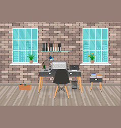 Modern workspace design in hipster style with vector