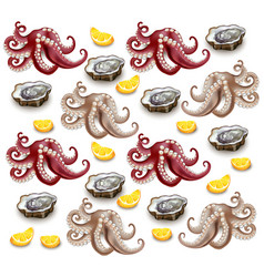 Octopus and oysters pattern realistic vector