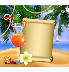 old paper on tropical background vector image