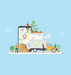 online delivery goods ecommerce concept with team vector image