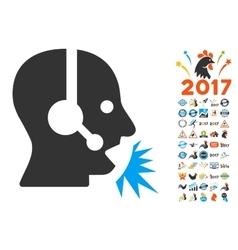 Operator Speech Icon With 2017 Year Bonus Symbols vector