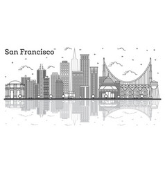 Outline san francisco california city skyline vector