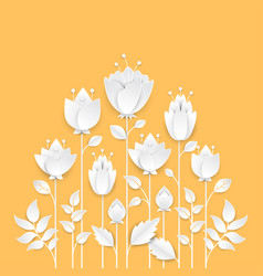 Paper cut growing flowers - modern colorful vector