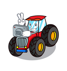 Photographer tractor mascot cartoon style vector