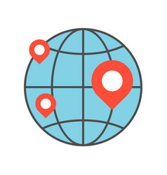 pin on globe location or branch business icon vector image