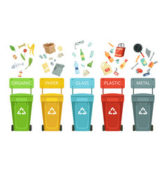 Plastic containers for garbage of different types vector
