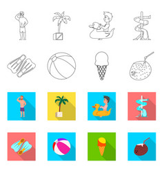 Pool and swimming icon vector
