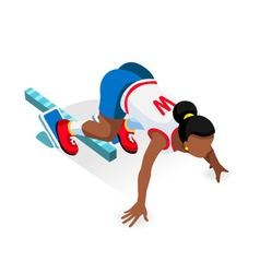 Running Starting Blocks Teen 2016 Sports Isometric vector