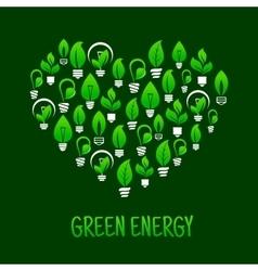 Saving energy symbol with heart and light bulbs vector image